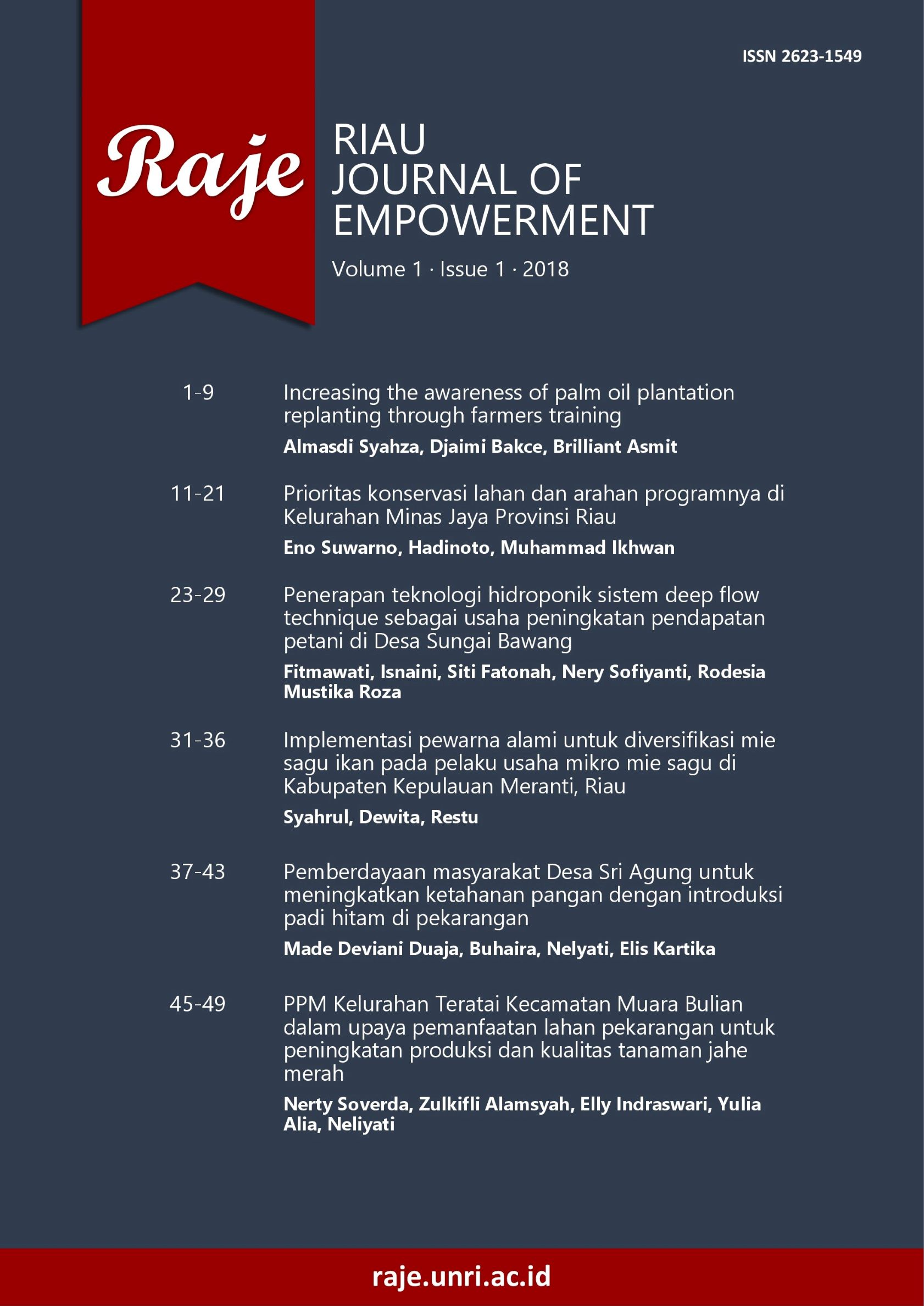 Riau Journal of Empowerment 1(1) 2018